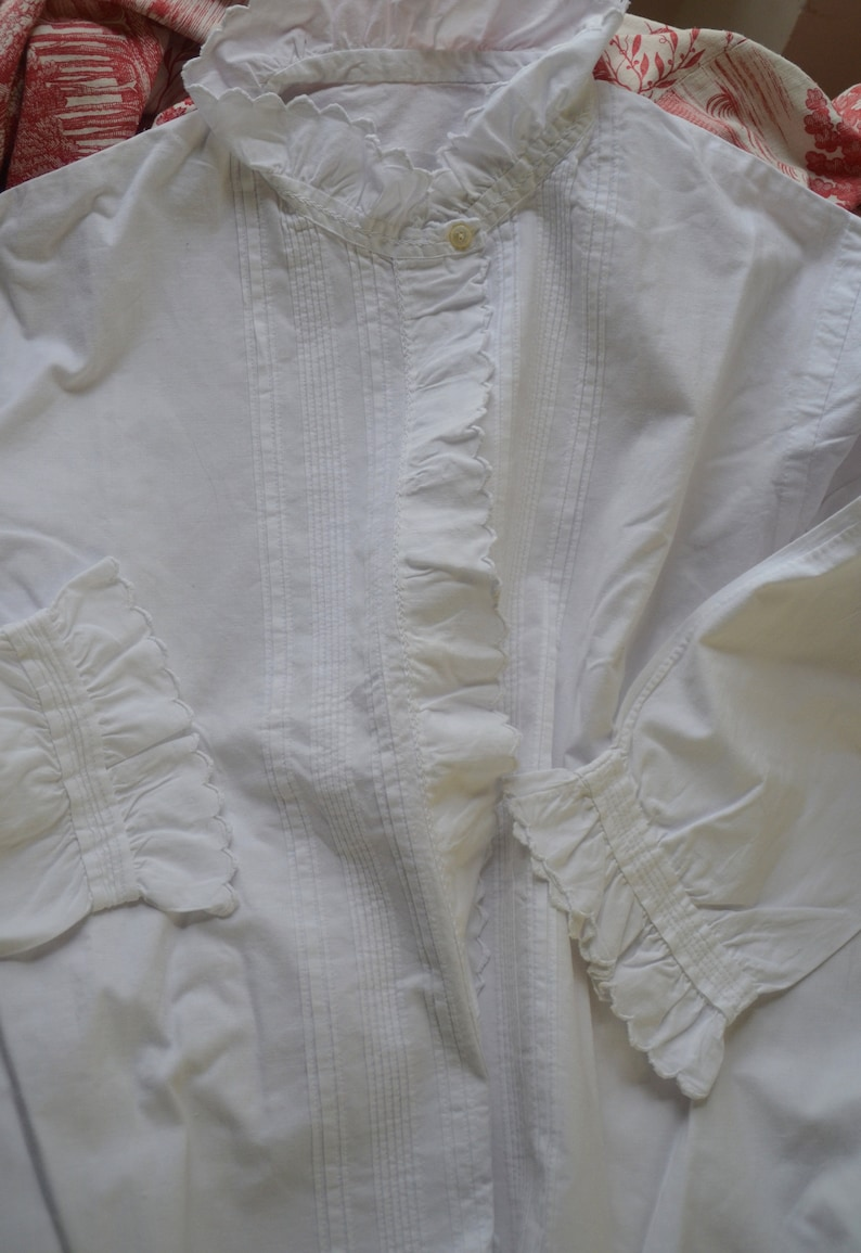 Antique French pure crisp cotton hand made and embroidered ladies blouse hand embroidered scalloped edges fine pin tucked front