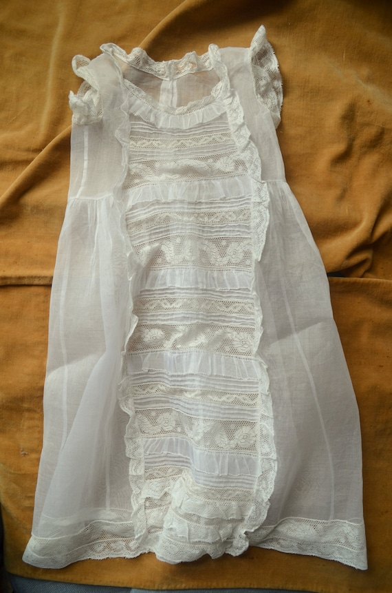 Antique French heirloom organza and lace baptism r