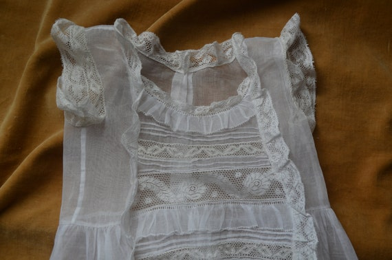 Antique French heirloom organza and lace baptism … - image 4