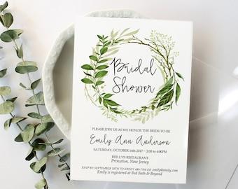 Bridal Shower Invitation Printable Template, 4x6, 5x7, Greenery Garden Foliage Wreath Invite, Instant Download, PDF - Emily
