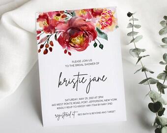 Red Floral Bridal Shower Invitation Printable, Marsala Invitation Template, Garden Bridal Shower, Digital