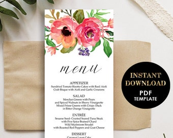 Floral Wedding Menu, Printable Template, Menu card (Brooke), Instant Download, Editable Text