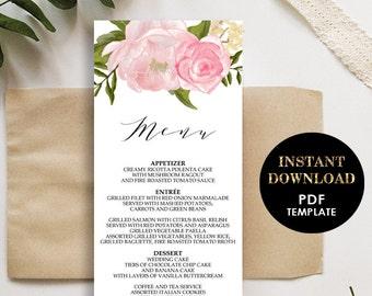 Floral Wedding Menu, Printable Template, Menu card (Madeline), Instant Download, Editable Text