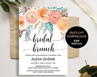 Floral Bridal Brunch Invitation, Printable Editable Template (Alexa), Bridal Shower Invite, Instant Download, Editable Text, Pink Flowers