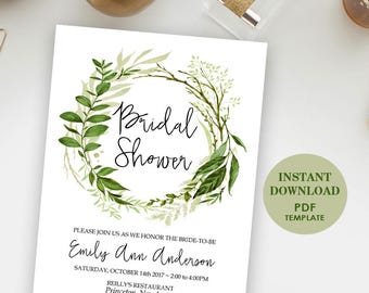 Editable Bridal Shower Invitation, Printable Template (Emily), Instant Download, Editable Text, Greenery, Garden Foliage Wreath Invite