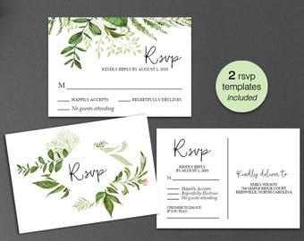 wedding rsvp postcards template