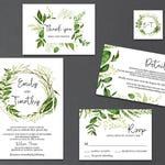 5-Piece Suite-Greenery Wedding Invitation Templates, Printable Garden Foliage Wreath Wedding Invitation Suite (Emily), Editable Text