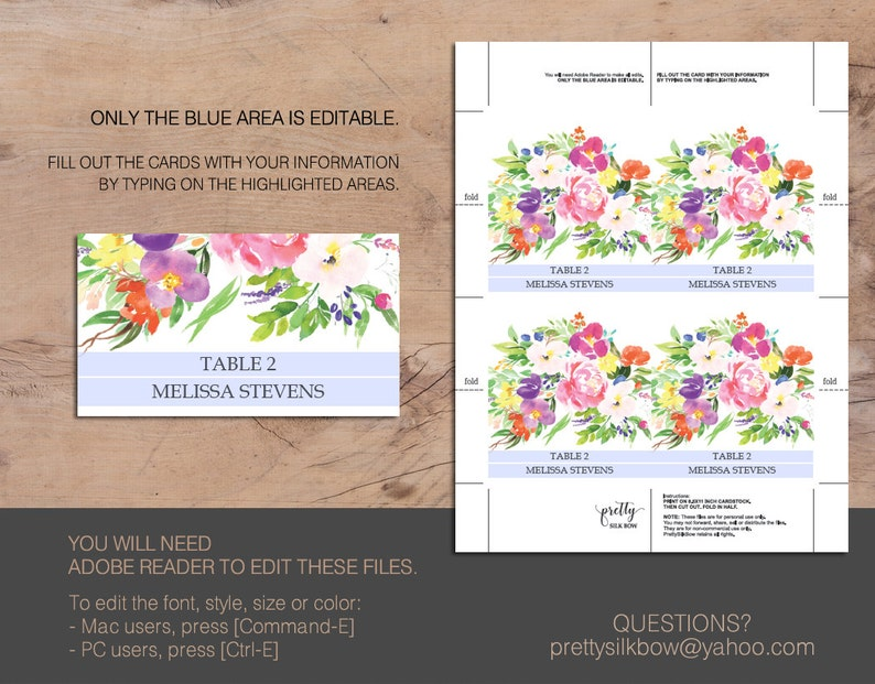 Printable Editable Template Pink Flowers Floral Wedding Place Card Instant Download Editable Text Floral Wedding Melissa PDF