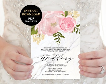 5-Piece Suite-Floral Wedding Invitation Templates, Printable Wedding Invitation Suite (Madeline), Instant Download, Editable Text