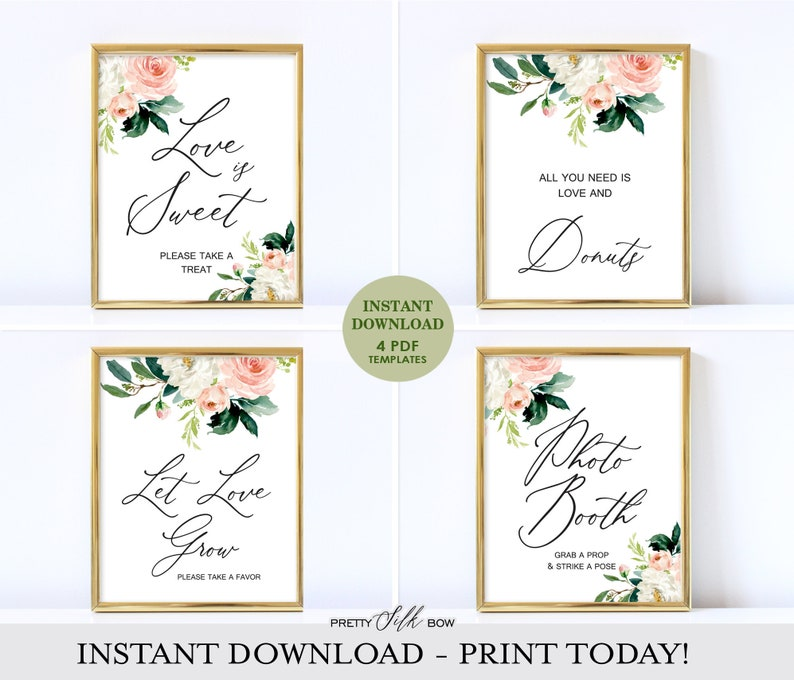 Love is Sweet Sign, Blush cards Sign Printable, Printable Let Love Grow  Sign, Instant Download PDF, Bridal Shower Sign Template - Alyson
