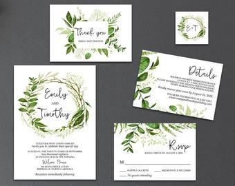 Editable Greenery Wedding Invitation Templates, Printable Garden Foliage Wreath Wedding Invitation Suite, Editable Text, PDF - Emily