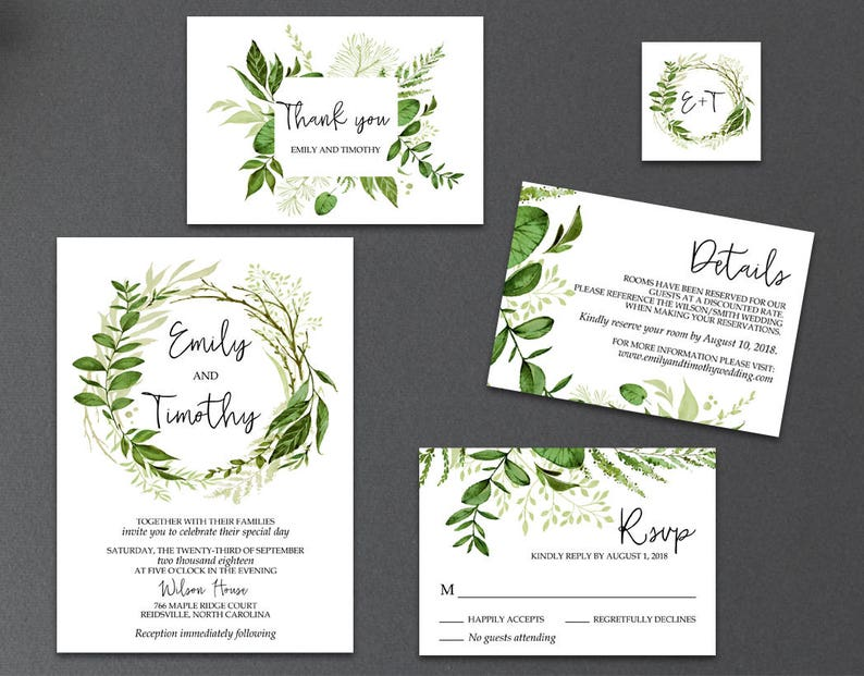Editable Greenery Wedding Invitation Templates Printable image 0