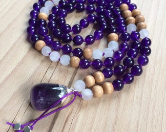 Purple Amethyst Mala Beads Necklace 108 Mala Beads // Yoga Mala // purple malaysia jade, rose quartz, wood beads