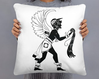 El Torogoz Basic Throw Pillow – Legends of El Salvador Art Deco-Inspired Home Décor