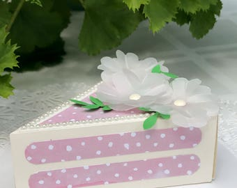 Pink Cake Slice Favor Box