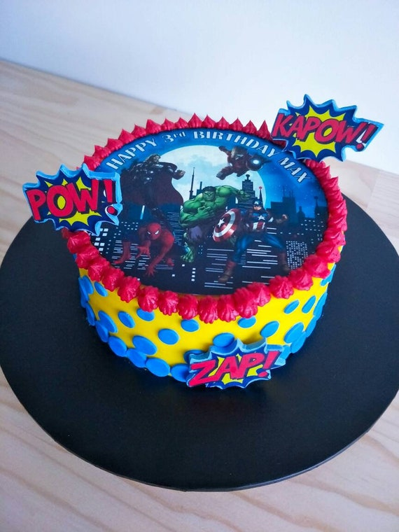AVENGERS BLUE PERSONALISED PRECUT EDIBLE BIRTHDAY CAKE TOPPER ICING OR RICE