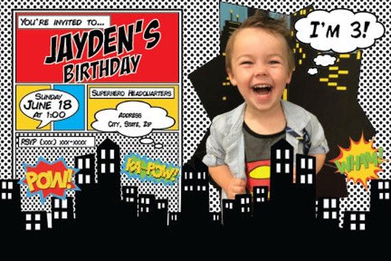 Superhero Invitation First Birthday Party Invite
