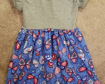4T Dress red white and blue butterflies w/grey knit top