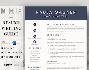 Professional Resume Template, CV Template and Cover Letter. Executive Resume, Finance Resume, Accountant Resume, Bookkeeper, CEO Resume