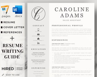 Sales Manager Resume. Professional Resume CV + Cover Letter format + References for Word & Mac Pages. Instant Download Creative CV Template