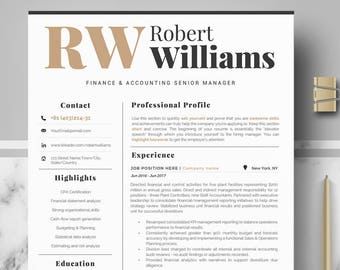 Modern & Professional Resume Template for Word or Mac Pages, Modern CV Design, Editable modern Resume, CV; Professional CV, Curriculum Vitae
