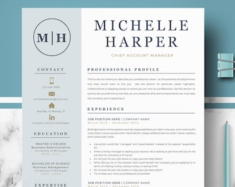 Professional & Modern Resume Template for Word and Pages | Resume Design | CV Template for Word | Professional CV | Instant Download resume