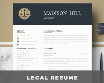 Attorney Resume Template Lawyer Resume Legal Resume Cv Etsy
