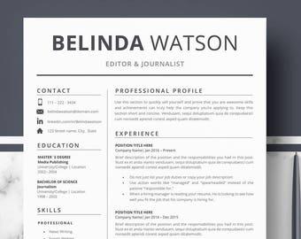 Professional Resume Templates Minimalist Resume Cv Template Etsy