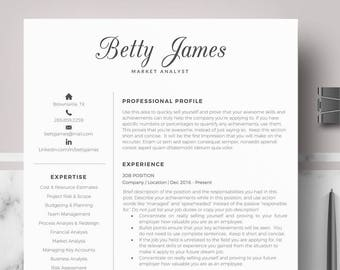 Professional Modern Resume Template For Word And Pages Etsy