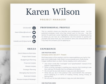 Professional Resume Template for Word & Pages | Professional CV Template | One, Two and Three Page Resume Template | Instant Download Resume