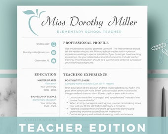 teacher resume template etsy