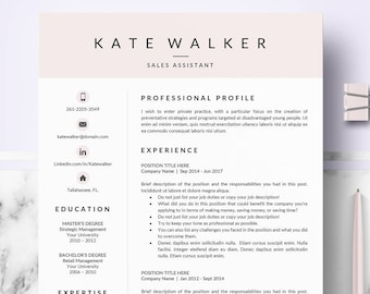 professional resume cv template for ms word resume cv layout design cover letter references resume cv instant download