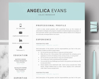 Modern Resume Template Professional CV For Word And Pages 1 2 3 Cover Letter Tips Instant Download