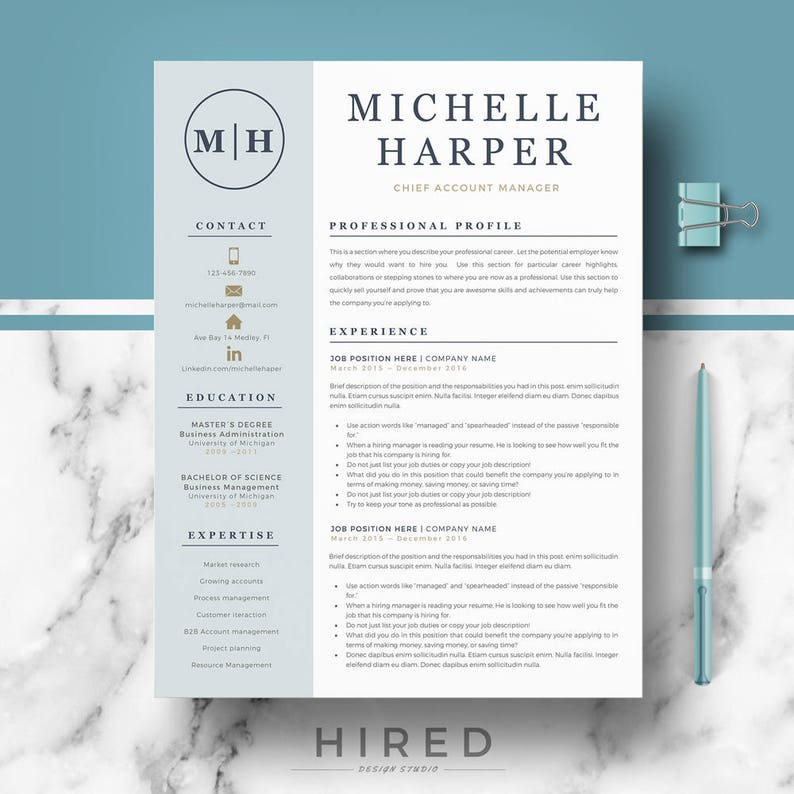 professional  u0026 modern resume template for word and pages