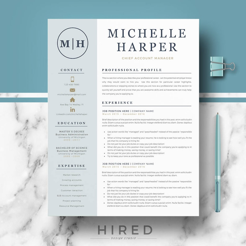 Professional & Modern Resume Template For Word And Pages