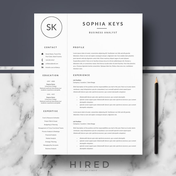 Instant Download Professional Resume Template For Word Pages Etsy