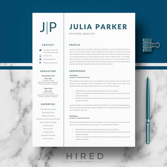 Professional Resume, CV Templates for MS Word & Pages; Modern resume, CV +  Cover Letter, References, tips; Instant Download curriculum vitae