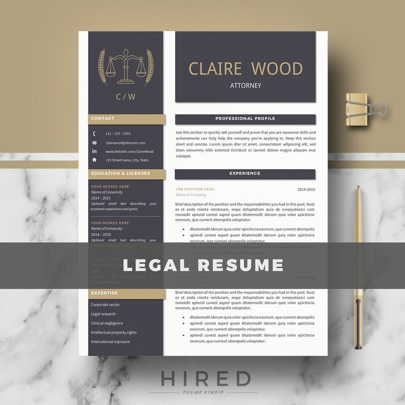 Cover Letter For Legal Istant   Attorney Resume Template Lawyer Resume Legal Resume Cv Etsy