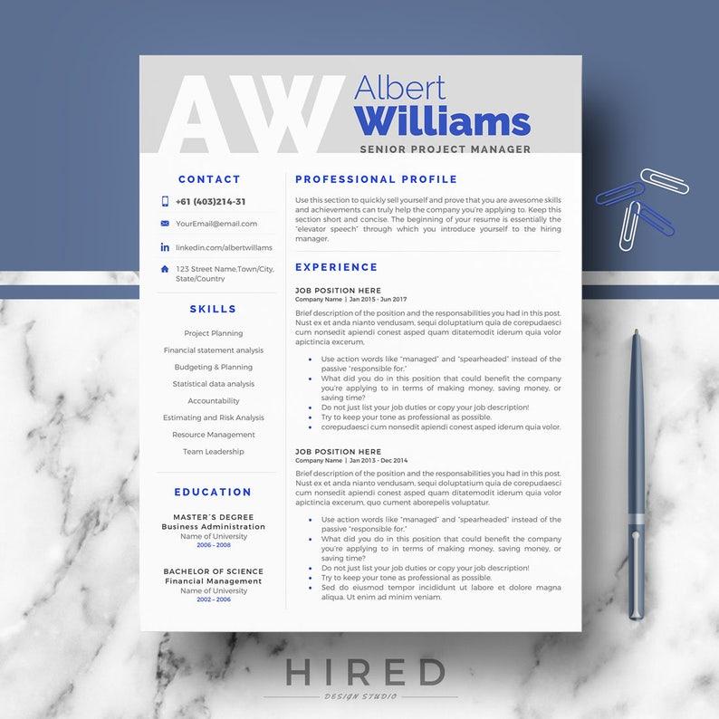 Professional Resume Template Modern Resume CV templates for | Etsy
