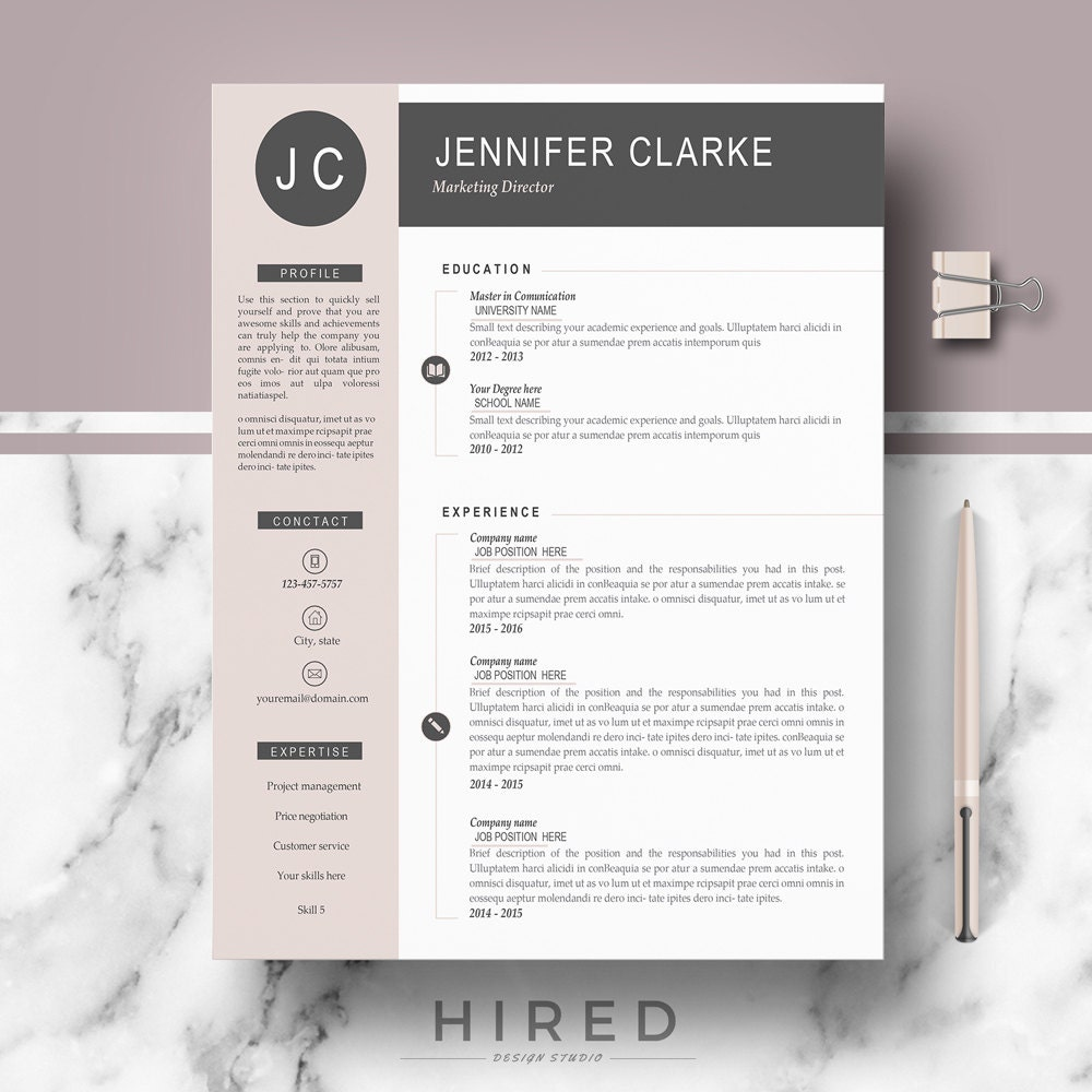 resume cv template modern  u0026 professional resume for word and
