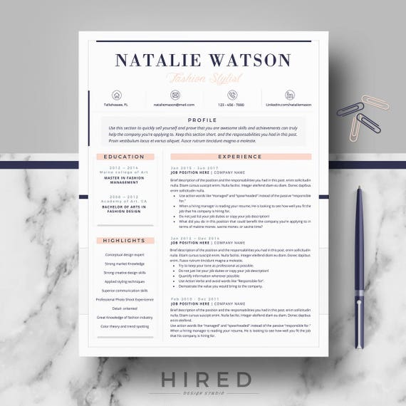 Creative Professional Resume Cv Template Modern Cv Resume Etsy