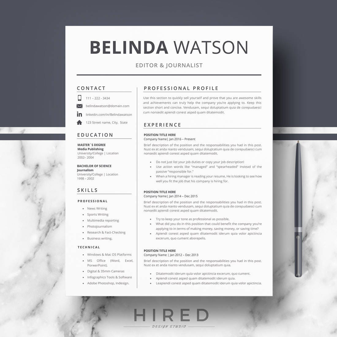 professional resume cv template modern resume cv for word  u0026