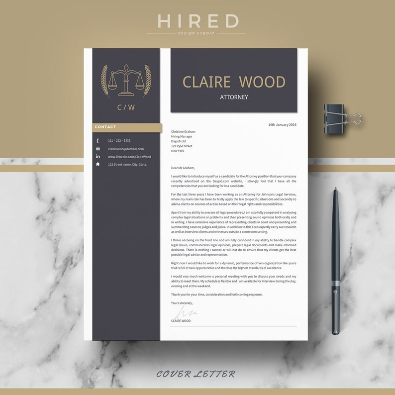 Professional Resume Resume Lawyer Resume Attorney Resume Template Cover Letter /& References CV Instant Download Legal Resume CV