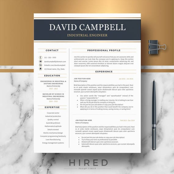 Resume Template For Word And Pages Modern Professional Etsy