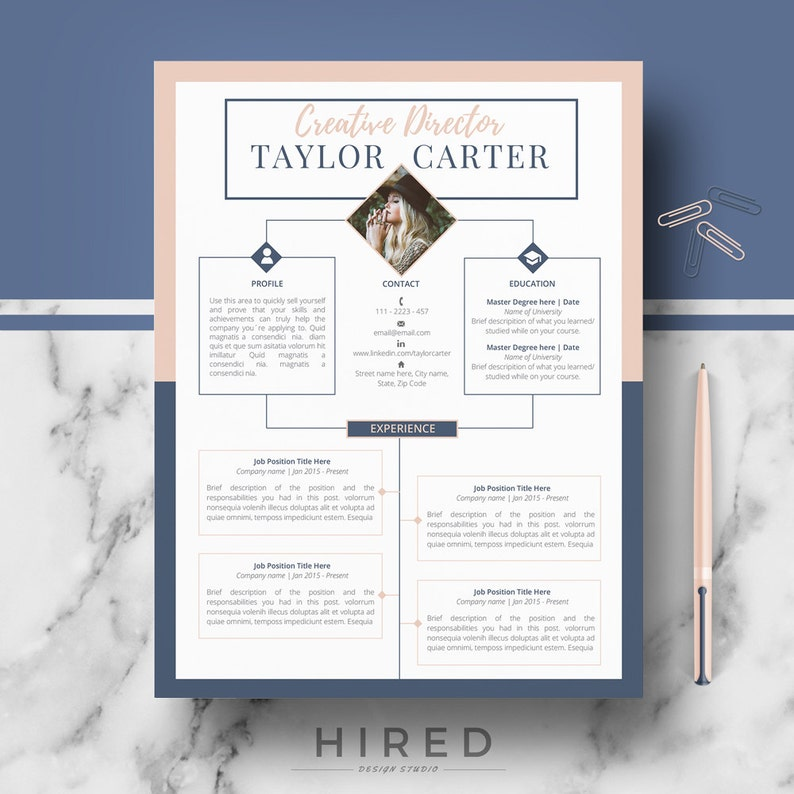 CV Design Creative Resume Template Ms Word Pages