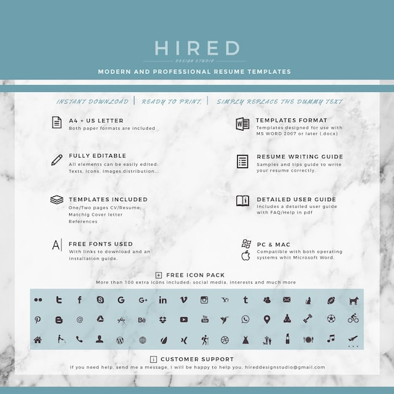 Professional & Modern Resume Template for Word and Pages | Etsy