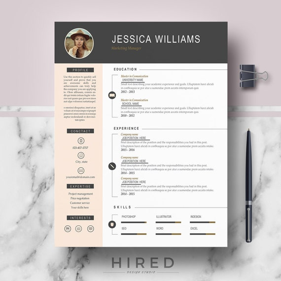 Resume Template with Photo   Curriculum Vitae   CV + Cover Letter format +  References + Free Resume writing guide + icons   Instant Download