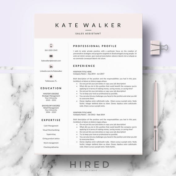 Professional Resume CV template for Ms Word & Mac Pages | Etsy