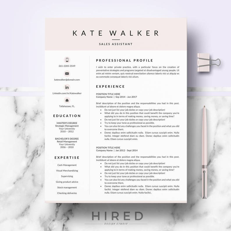 Professional Resume CV Template For Ms Word Mac Pages Cv Layout Design Cover Letter References Instant Download