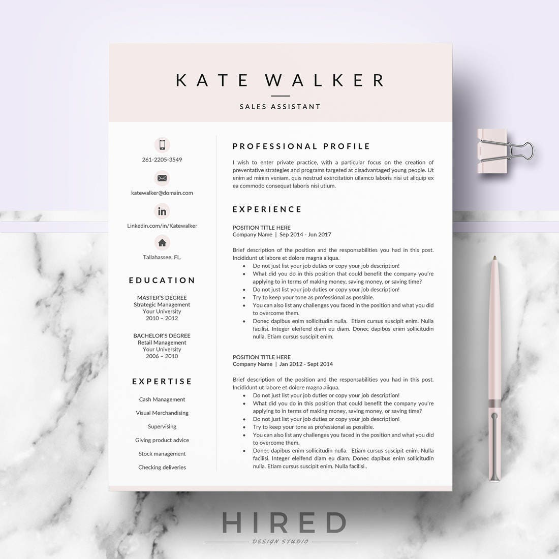 professional resume cv template for ms word  u0026 mac pages